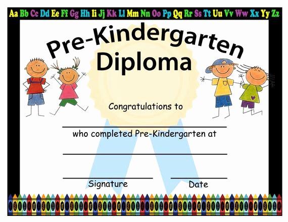 Free Printable Kindergarten Certificate Templates Lovely Pre Kindergarten Graduation Diplomas Blank Graduation