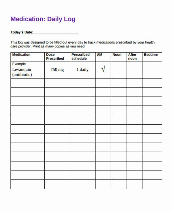 Free Printable Medication Log Template Lovely 28 Free Daily Log Samples & Templates