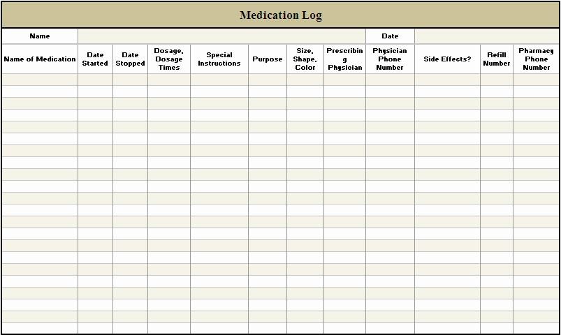 Free Printable Medication Log Template New 5 Best Of Free Printable Medication Log Sheets