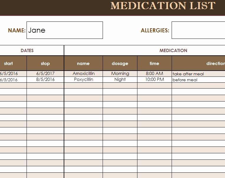 Free Printable Medication Log Template New Free Medication Administration Record Template Excel