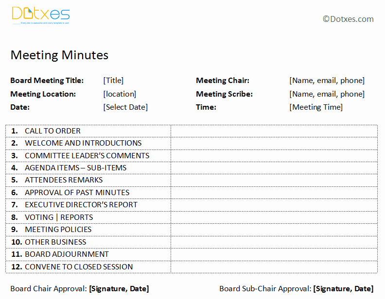 Free Printable Meeting Minutes Template Awesome Board Meeting Minutes Template Plain format Dotxes