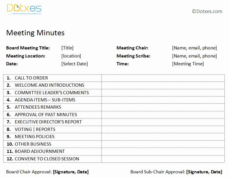Free Printable Meeting Minutes Template Awesome Board Meeting Minutes Template Plain format Dotxes
