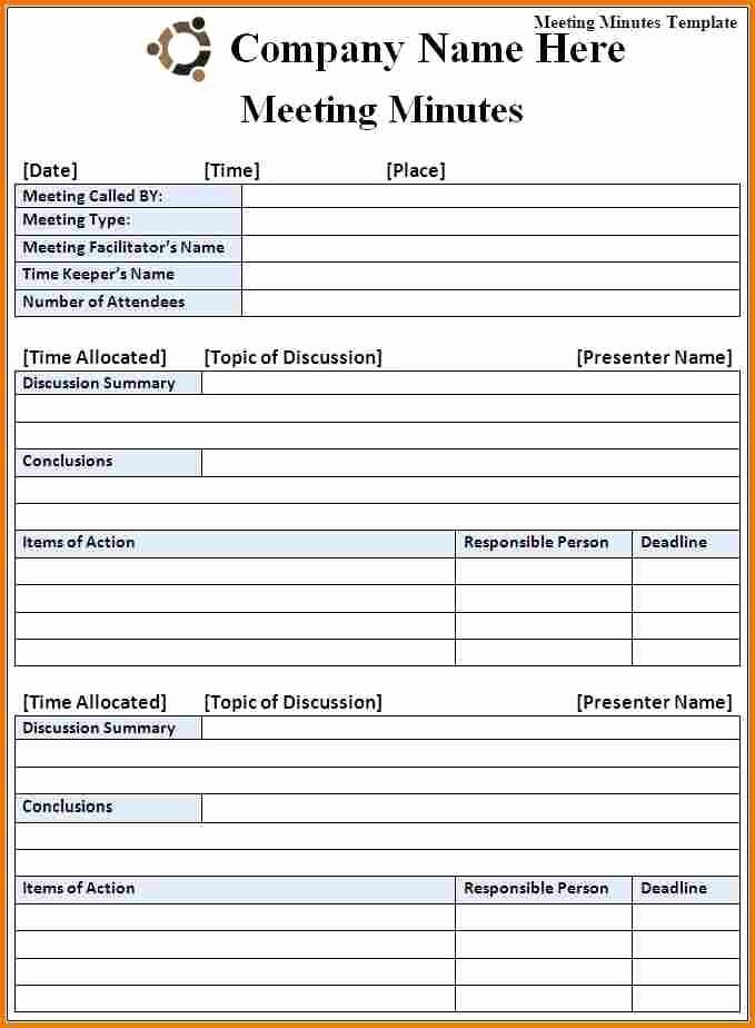 Free Printable Meeting Minutes Template Inspirational Meeting Minutes Template Free
