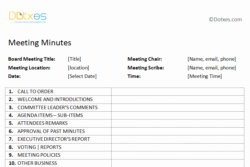 Free Printable Meeting Minutes Template Inspirational Meeting Minutes Template Free Printable formats for Word