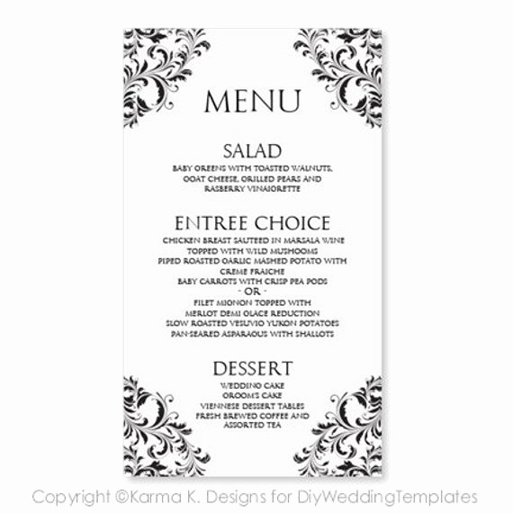 Free Printable Menu Card Templates Awesome Wedding Menu Card Template Download Instantly by