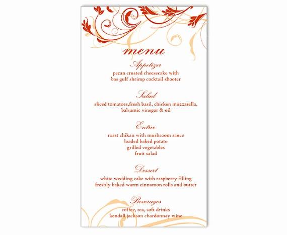 Free Printable Menu Card Templates Awesome Wedding Menu Template Diy Menu Card Template Editable Text