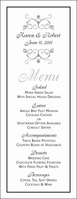 Free Printable Menu Card Templates Beautiful Free Printable Wedding Menus