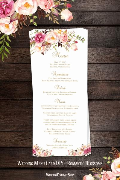 Free Printable Menu Card Templates Best Of Wedding Menu Card Romantic Blossoms Tea Length Printable