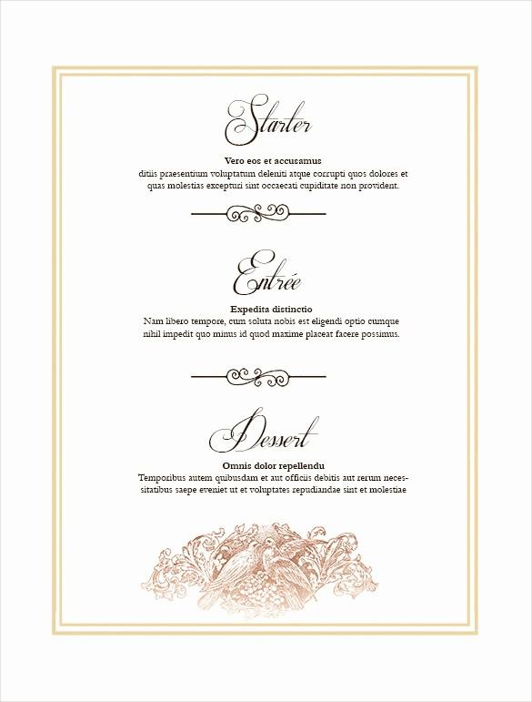 Free Printable Menu Card Templates Elegant 36 Wedding Menu Templates – Free Sample Example format