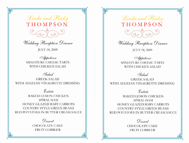 Free Printable Menu Card Templates Elegant Wedding Menu Template 5 Free Printable Menu Cards