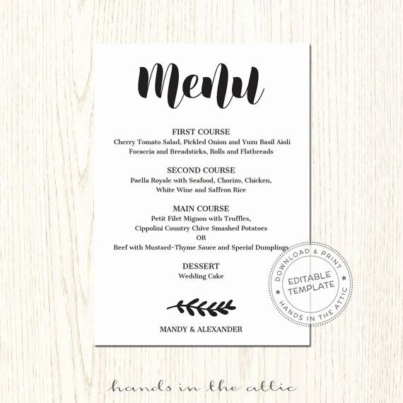 Free Printable Menu Card Templates Fresh 17 Best Ideas About Wedding Menu Template On Pinterest