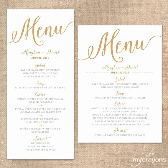 Free Printable Menu Card Templates Inspirational Gold Wedding Menu Cards Wedding Menu Template Gold