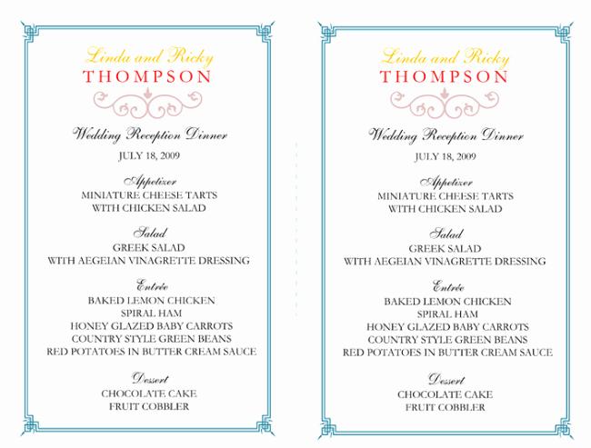 Free Printable Menu Card Templates Inspirational Wedding Menu Template 5 Free Printable Menu Cards Sample