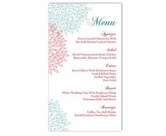 Free Printable Menu Card Templates Inspirational Wedding Menu Template Diy Menu Card Template Editable Text