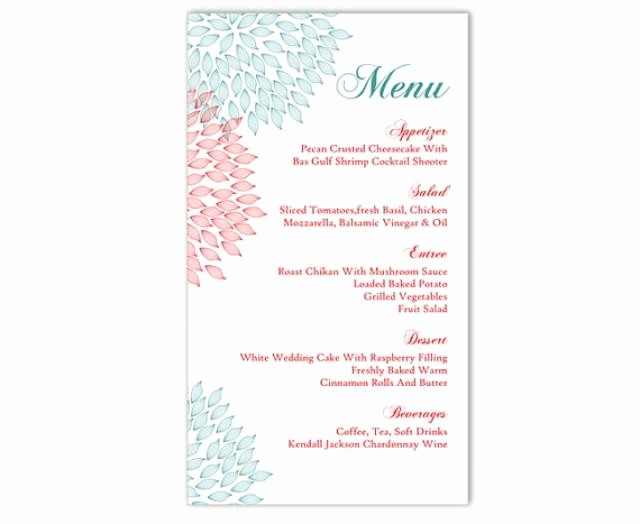 Free Printable Menu Card Templates Lovely Wedding Menu Template Diy Menu Card Template Editable Text
