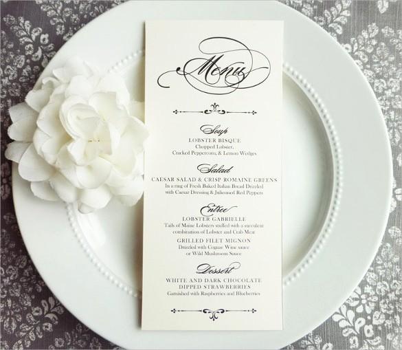 Free Printable Menu Card Templates Luxury 31 Wedding Menu Templates