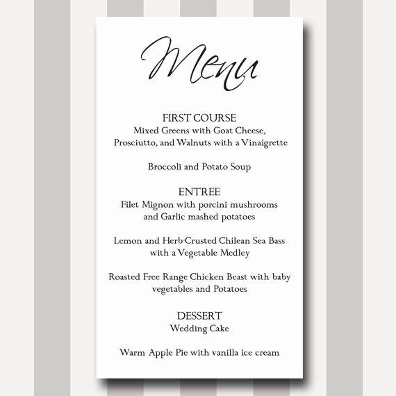 Free Printable Menu Card Templates Luxury Menu Card Diy Printable Template Modern Traditional