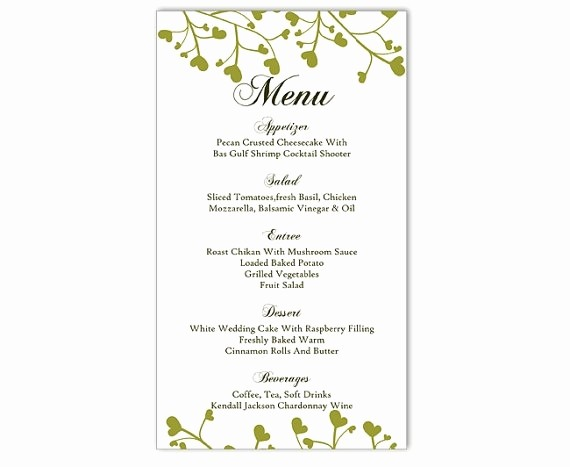 Free Printable Menu Card Templates New Wedding Menu Template Diy Menu Card Template Editable Text