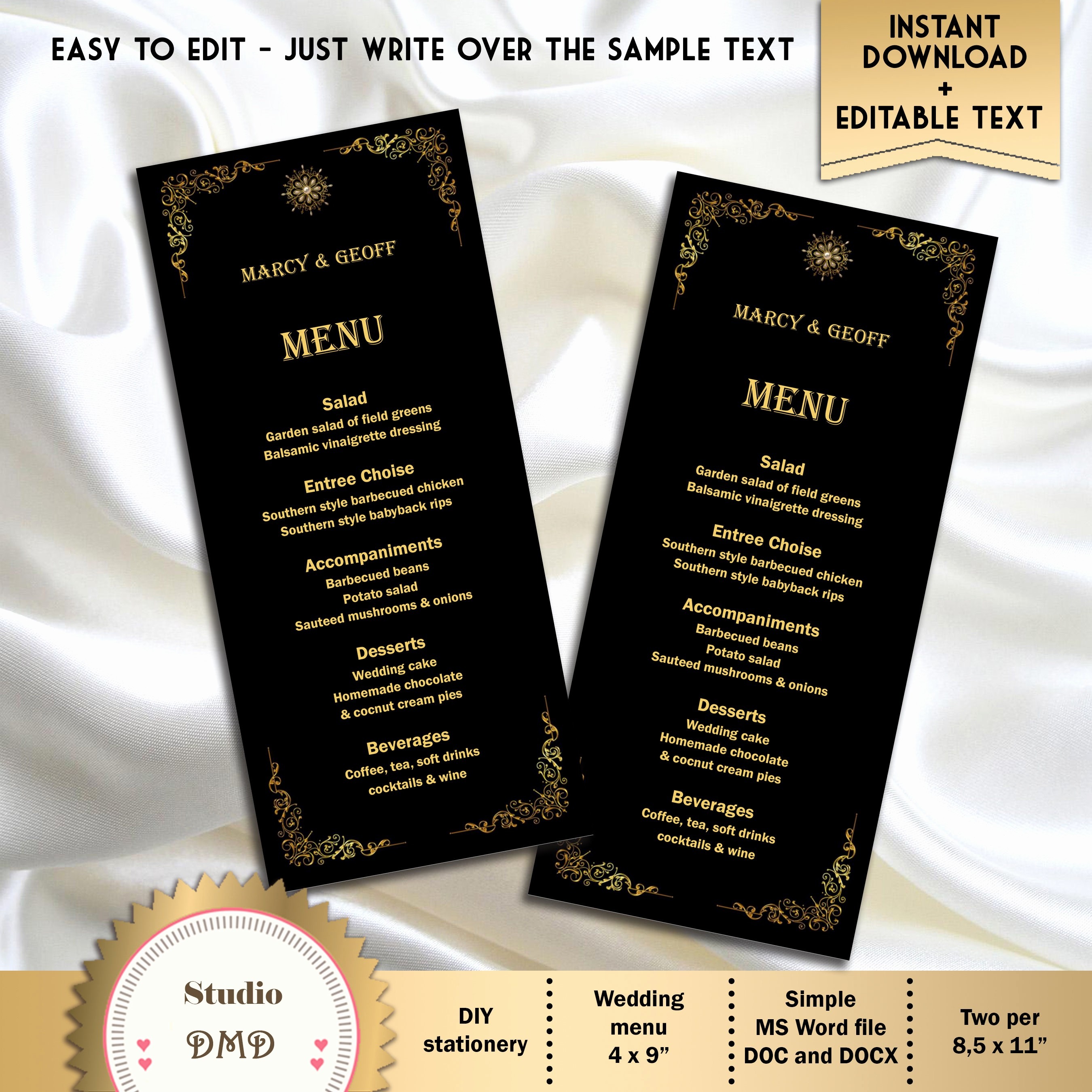 Free Printable Menu Card Templates Unique Printable Menu Card Template Great Gatsby Style Art Deco