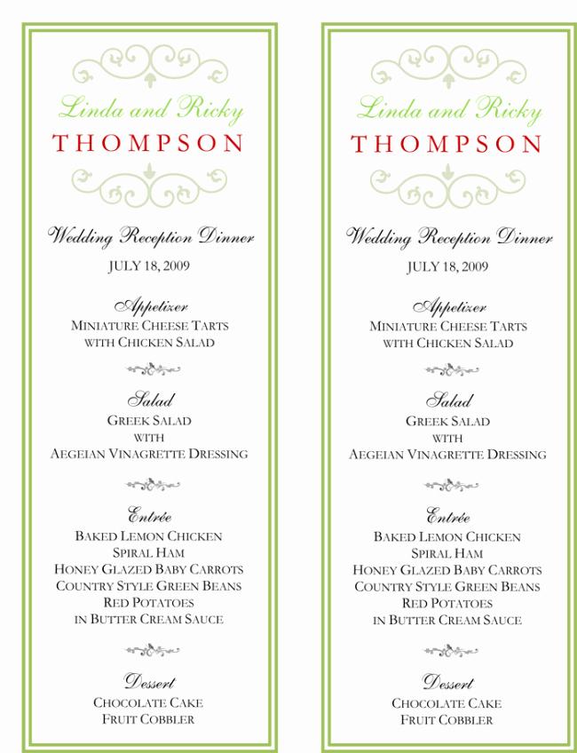 Free Printable Menu Card Templates Unique Wedding Menu Template 5 Free Printable Menu Cards