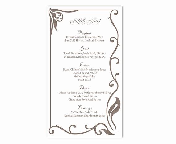 Free Printable Menu Card Templates Unique Wedding Menu Template Diy Menu Card Template Editable Text