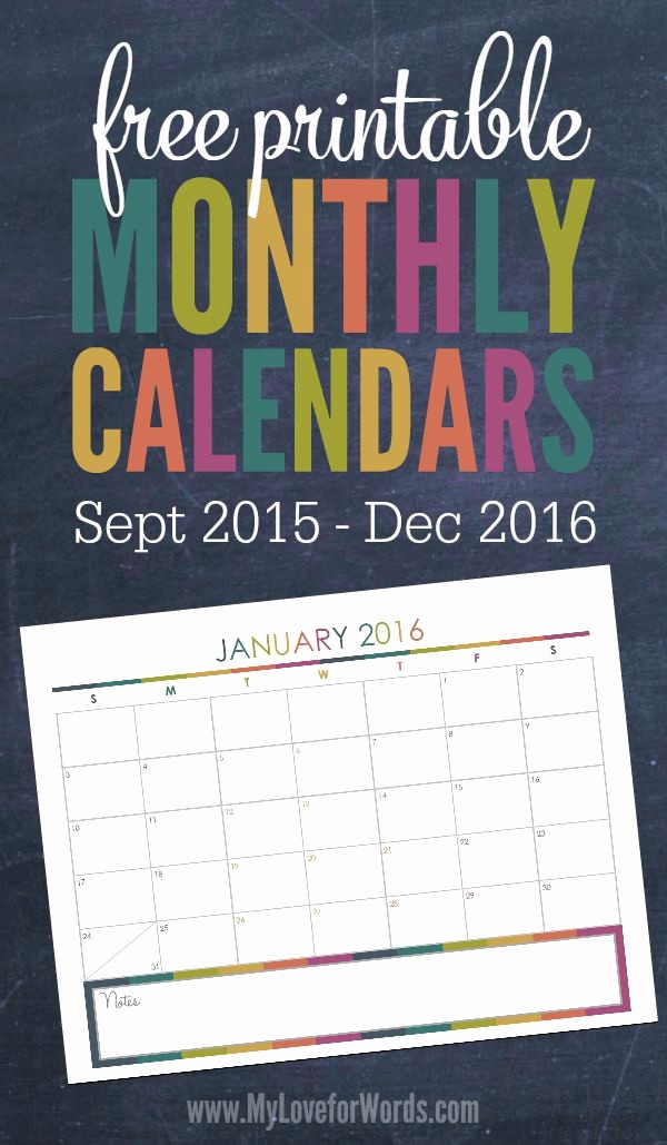 Free Printable Monthly 2016 Calendars Awesome Free Printable 2016 Monthly Calendars
