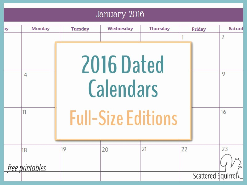 Free Printable Monthly 2016 Calendars Best Of 2016 Monthly Calendar Printables Full Size Edition