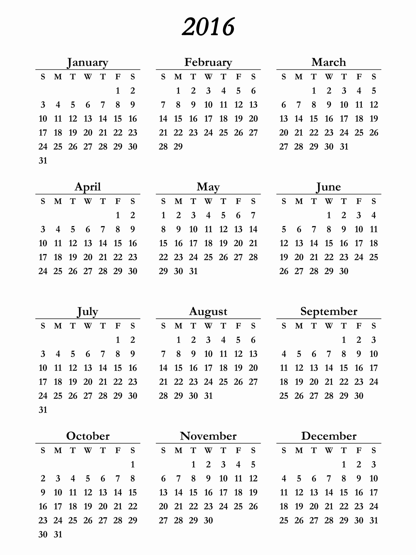 Free Printable Monthly 2016 Calendars Best Of Printable Calendar for 2016 – 2017 Printable Calendar