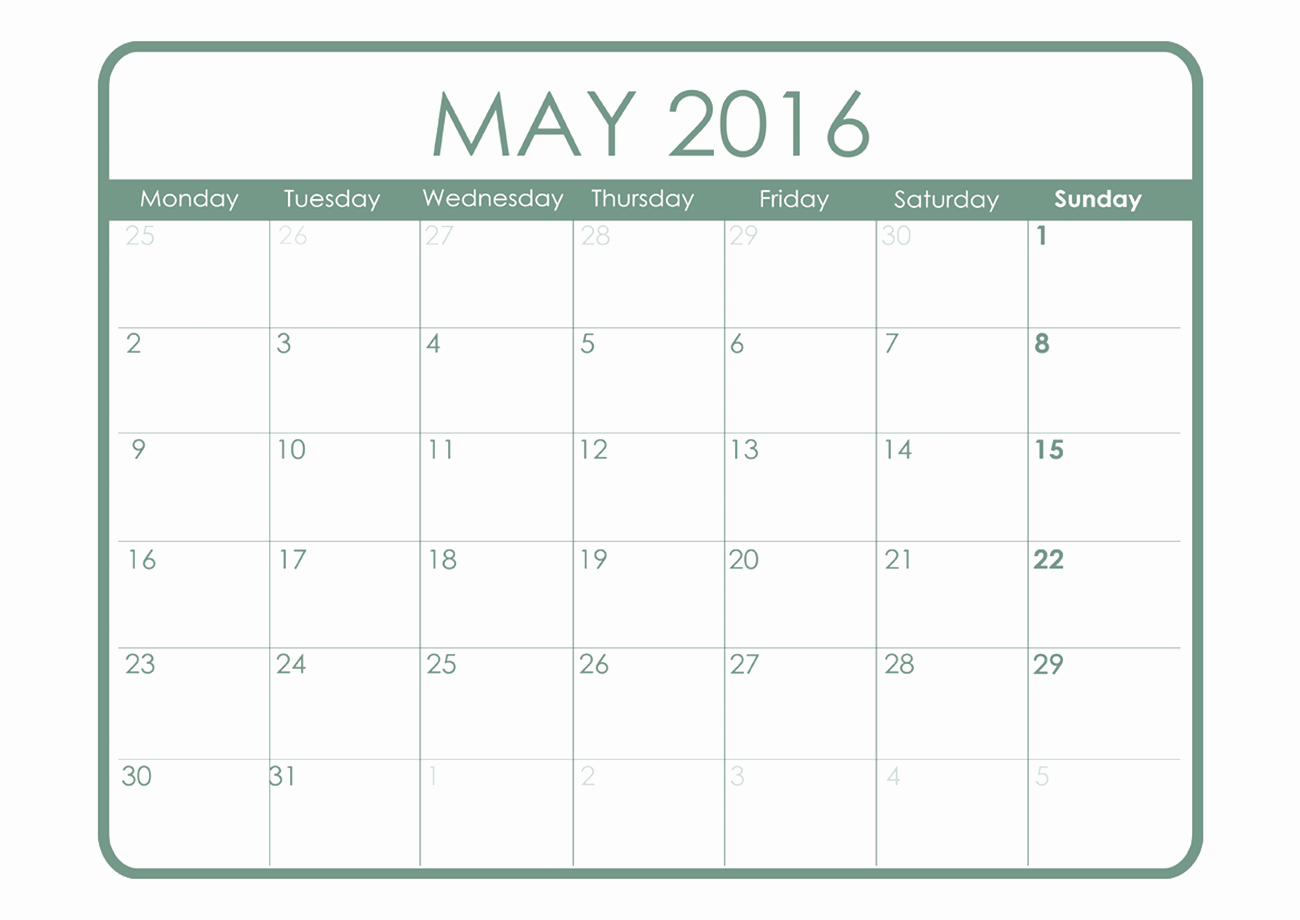 Free Printable Monthly 2016 Calendars Elegant 2016 Monthly Calendar Printable