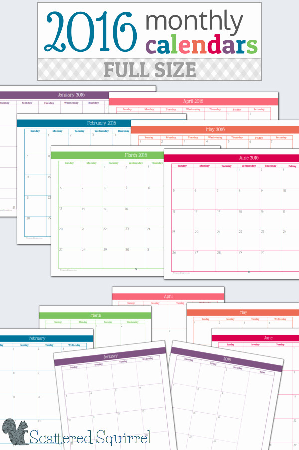 Free Printable Monthly 2016 Calendars Fresh 7 Best Of Family Monthly Calendar 2016 Printable