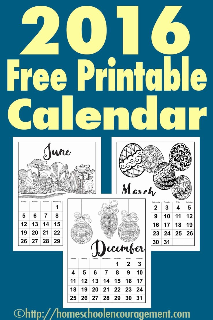 Free Printable Monthly 2016 Calendars Fresh Free Printable Calendar for 2016 Monthly Calendars with