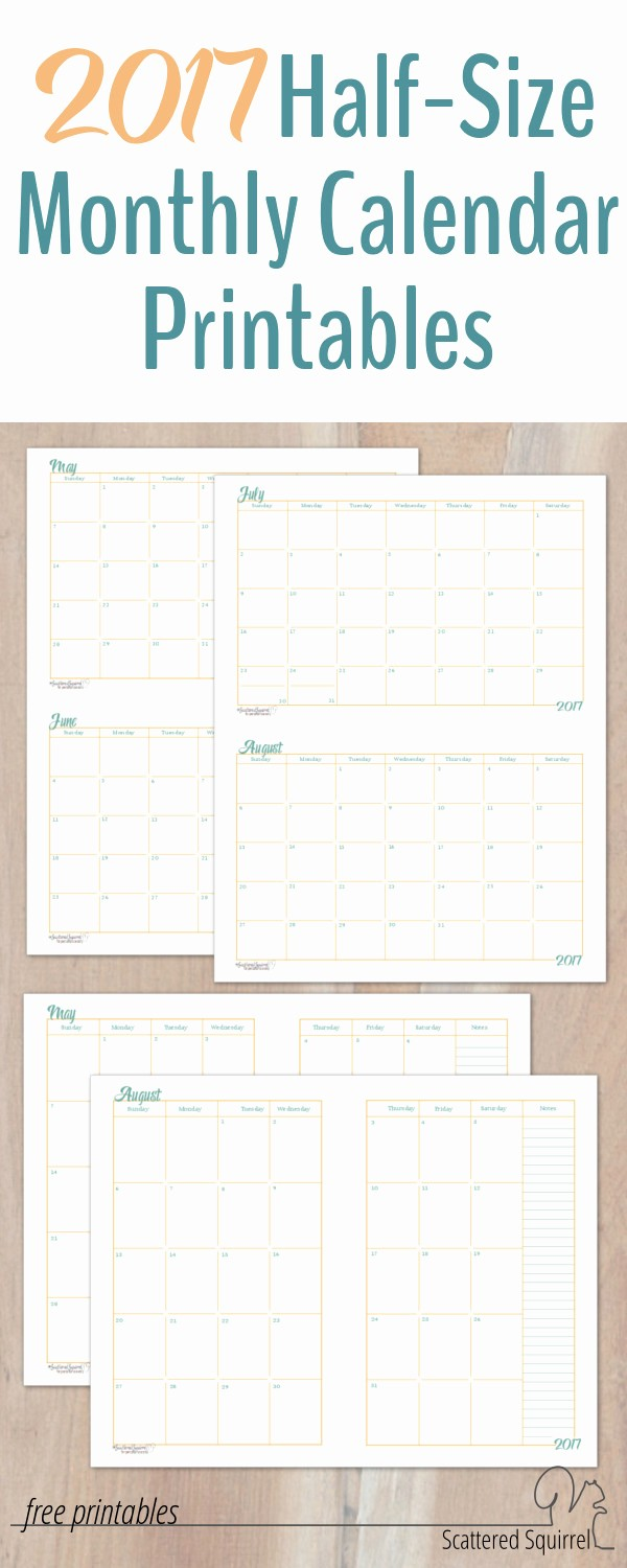Free Printable Monthly 2016 Calendars Lovely 2017 Half Size Monthly Calendar Printables