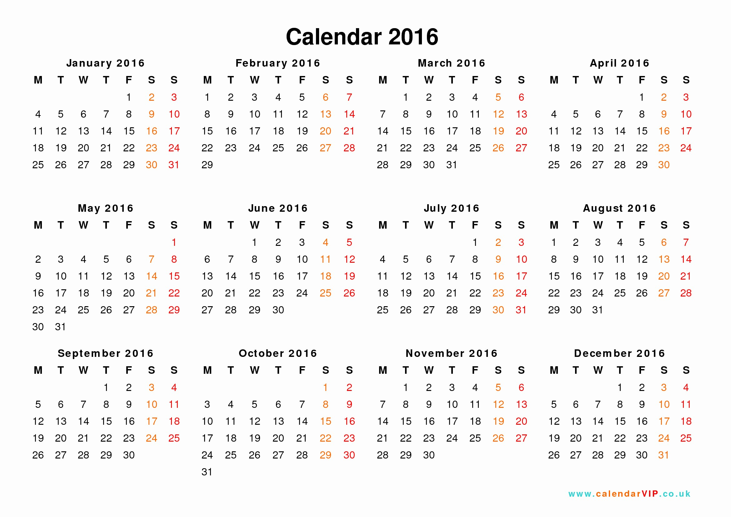 Free Printable Monthly 2016 Calendars Lovely Download Calendar 2016 Printable