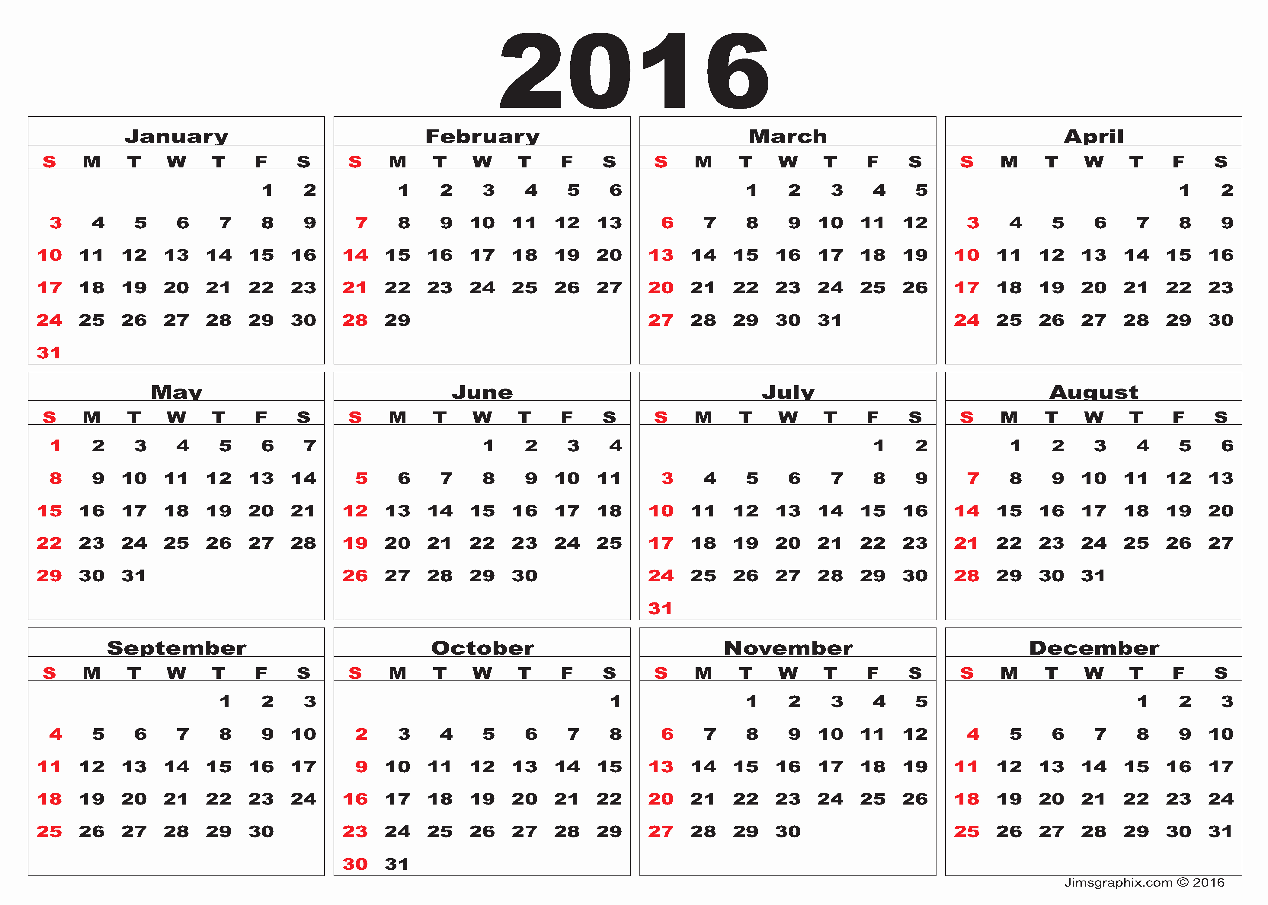 Free Printable Monthly 2016 Calendars Luxury 2016 Calendar – Printable Calendar Templates
