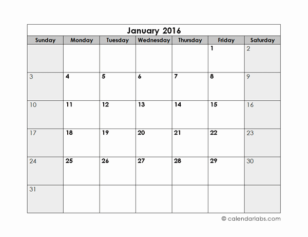 Free Printable Monthly 2016 Calendars New 2016 Blank Monthly Calendar Free Printable Templates