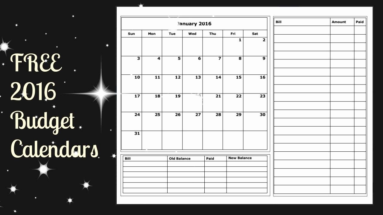 Free Printable Monthly 2016 Calendars New 2016 Bud Calendar Free Printable