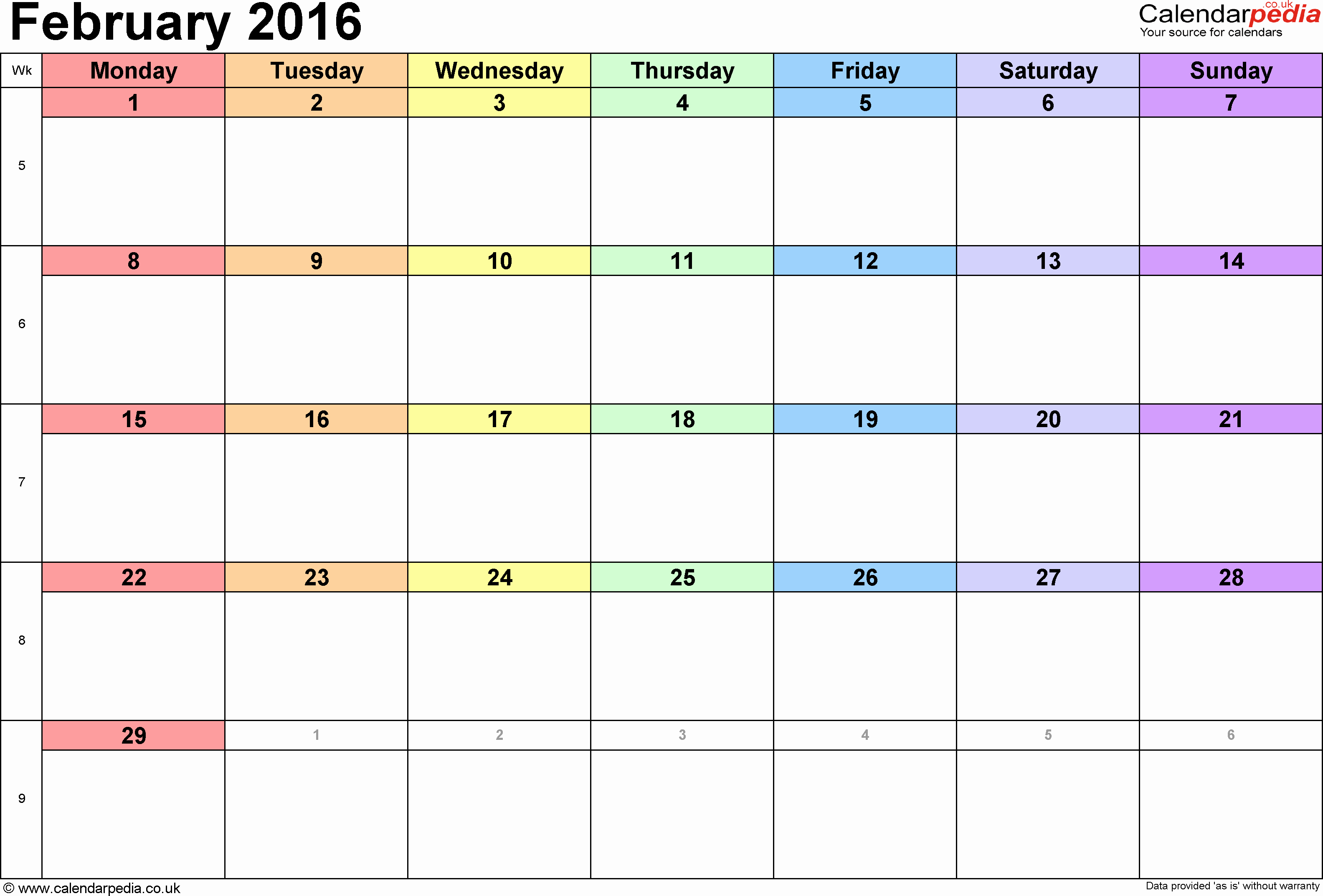 Free Printable Monthly 2016 Calendars New 2016 Monthly Calendar Printable – 2017 Printable Calendar