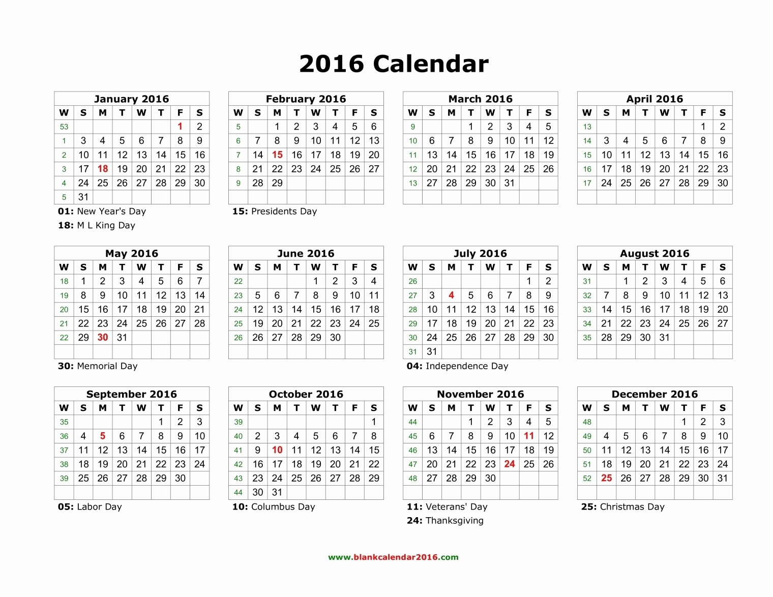 Free Printable Monthly 2016 Calendars New 2016 Yearly Calendar with Holidays Printable