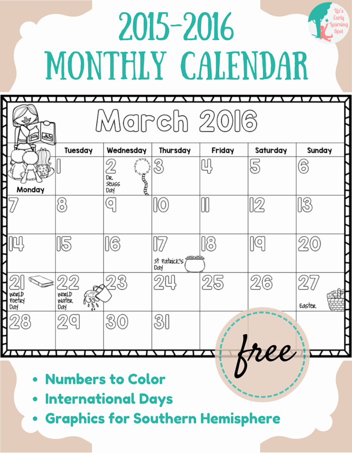 Free Printable Monthly 2016 Calendars New Free 2015 2016 Monthly Calendar for Kids Liz S Early