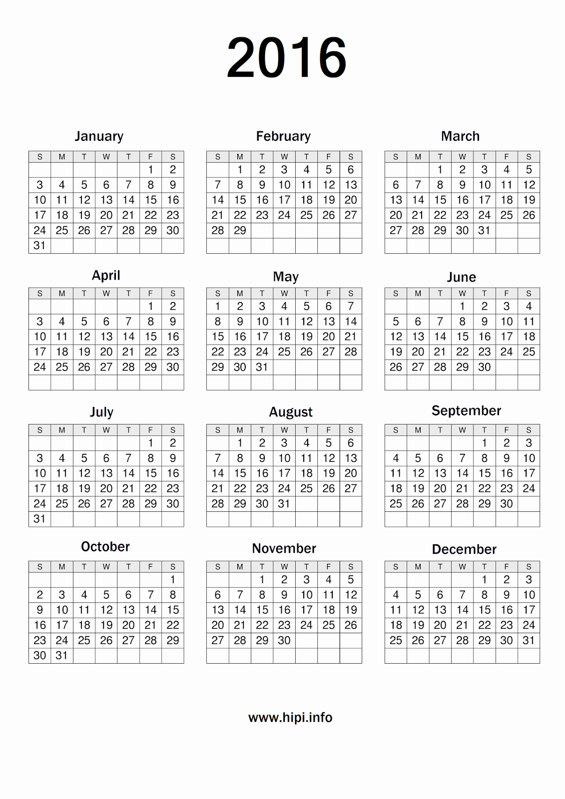 Free Printable Monthly 2016 Calendars New Twitter Headers Covers Wallpapers Calendars