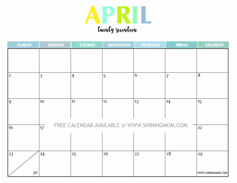 Free Printable Monthly 2017 Calendar Fresh Your Free 2017 Printable Calendar Fun and Colorful