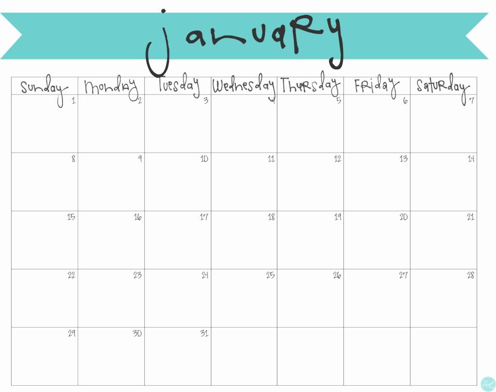 Free Printable Monthly 2017 Calendar Inspirational January 2017 Calendar Free Printable