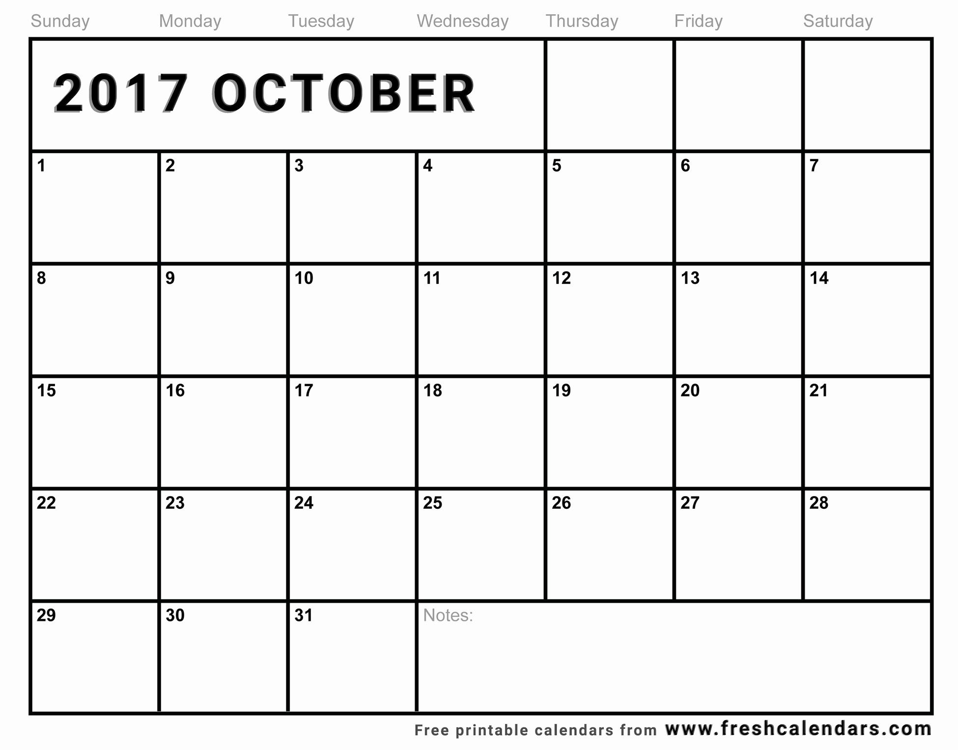 Free Printable Monthly 2017 Calendar New Blank October 2017 Calendar Printable Templates