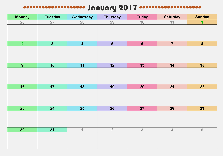 Free Printable Monthly 2017 Calendar New Calendar 2017