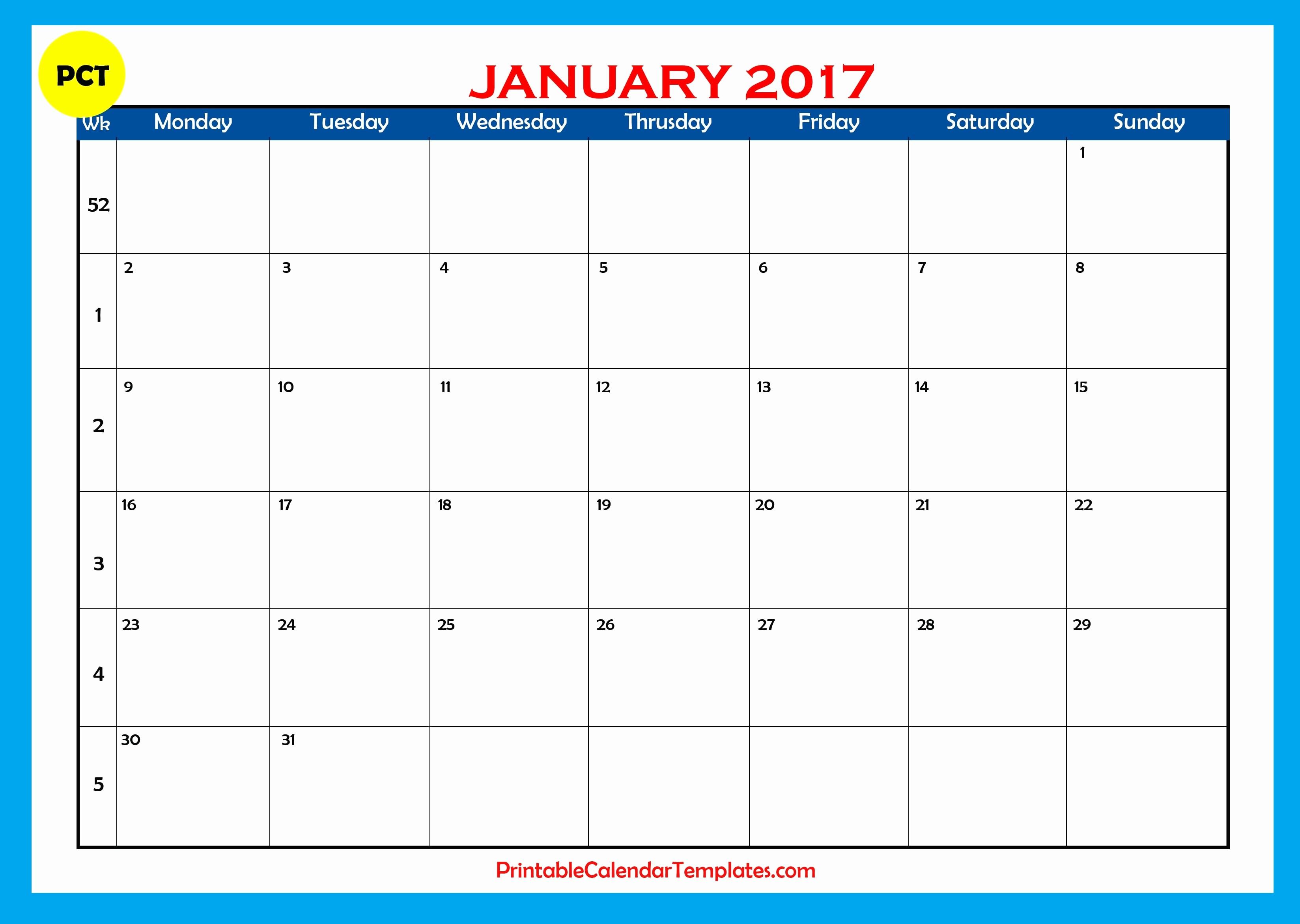 Free Printable Monthly 2017 Calendar Unique January 2017 Printable Calendar Templates
