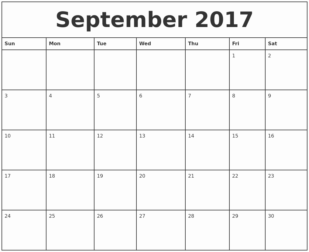 Free Printable Monthly 2017 Calendar Unique September 2017 Printable Monthly Calendar