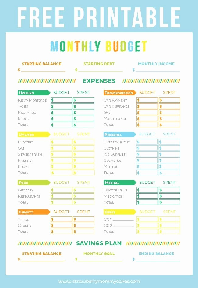 Free Printable Monthly Budget Template Awesome Get Your Finances In order with This Free Printable Bud