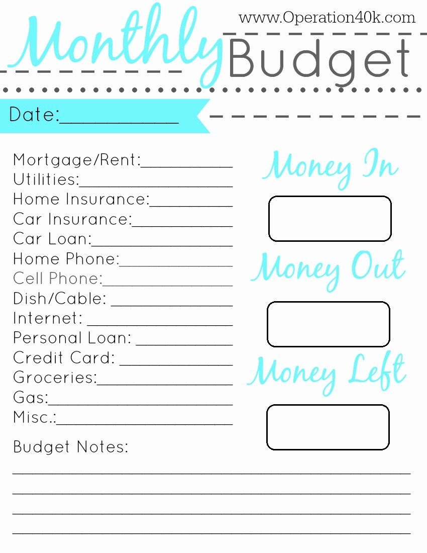 Free Printable Monthly Budget Template Best Of Family Binder Free Printable Set Operation $40k