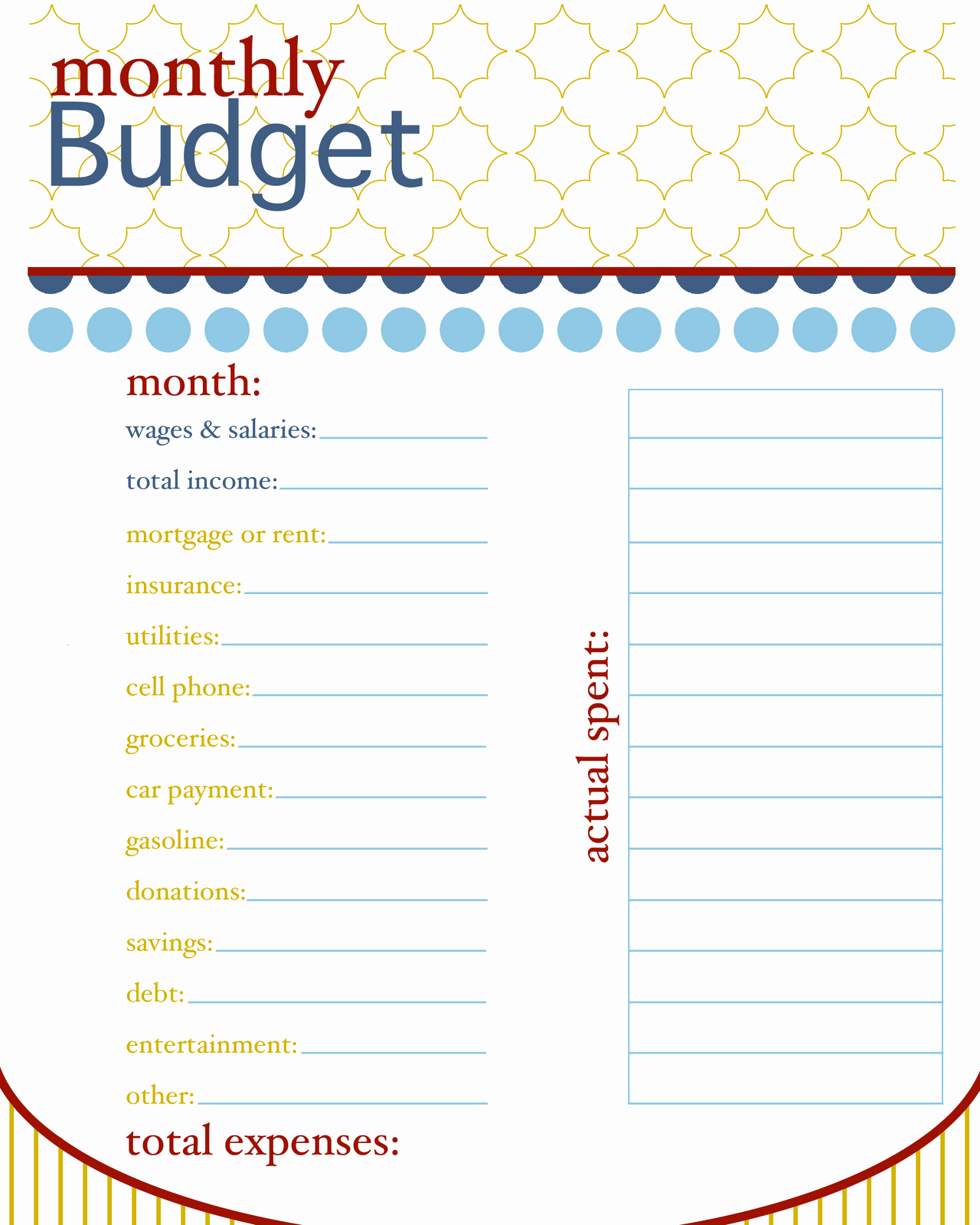 Free Printable Monthly Budget Template Elegant Monthly Bud Printable