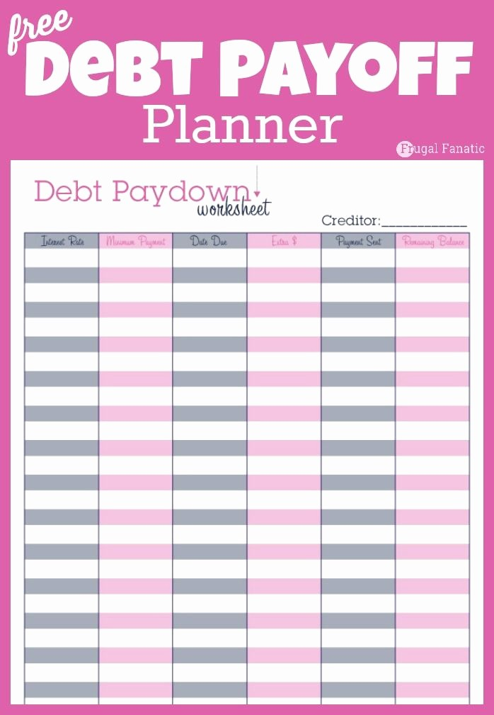 Free Printable Monthly Budget Template Lovely Debt Payoff Planner Free Printable